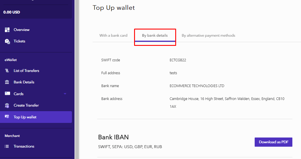 How to top up the account with bank details?